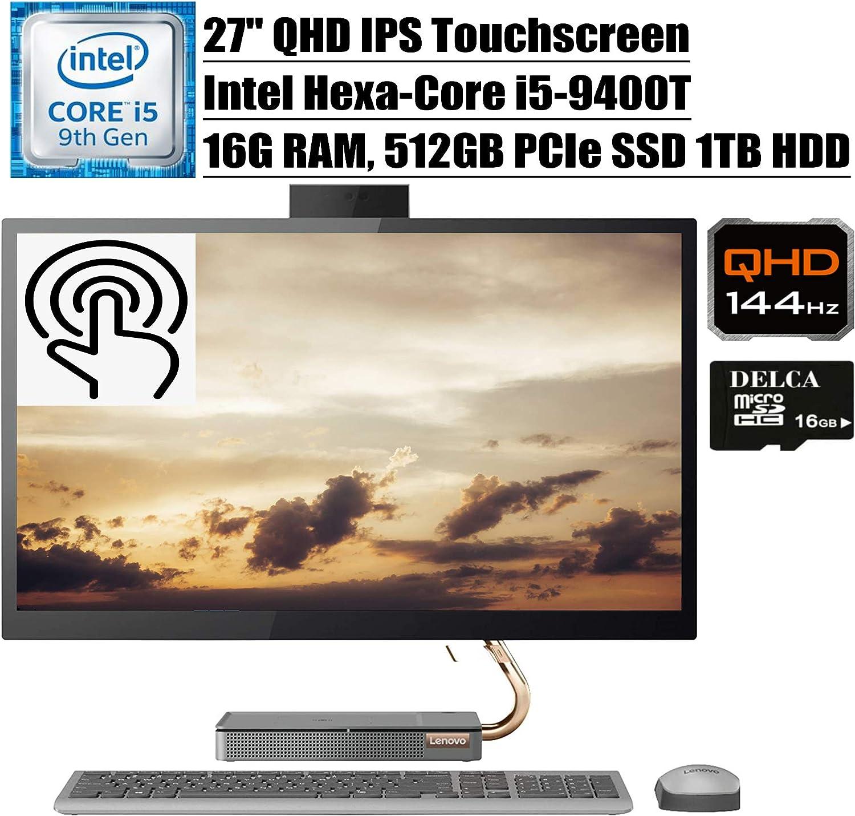 """Lenovo Ideacentre A540 2020 Premium All in One Desktop Computer I 27"""" QHD IPS Touchscreen I Intel Hexa-Core i5-9400T (>i7-7700HQ)I 16GB DDR4 512GB PCIe SSD 1TB HDD Win 10 + Delca 16GB Micro SD Card"""