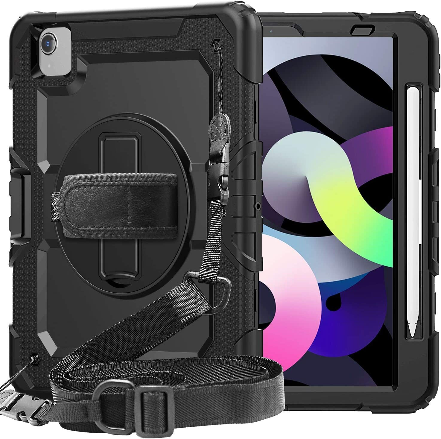 iPad Air 4 Case with Pencil Holder Screen Protector | SIBEITU iPad Air 10.9 Case 2020 Shockproof Heavy Duty | Hard Protective Cover w/ Stand Hand&Shoulder Strap for iPad Pro 11 | Black