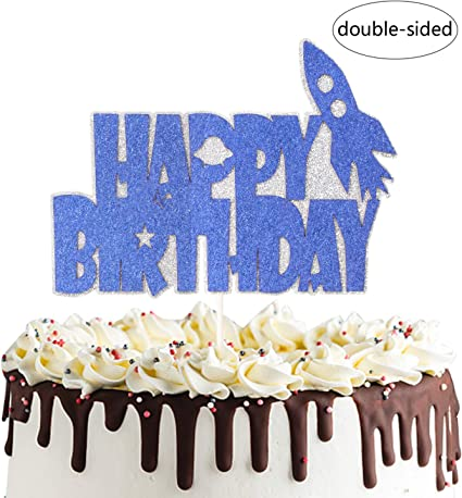 Fine Amazon Com Rocket Ship Happy Birthday Cake Topper Outer Space Funny Birthday Cards Online Sheoxdamsfinfo