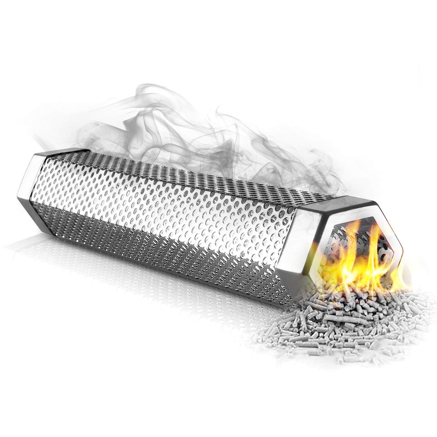 Fun-Ker Premium Pellet Smoker Tube 12'' - 5 Hours Billowing Smoke any Grill Smoker, Hot Cold Smoking - Easy, safety tasty smoking - Free eBook Grilling Ideas Recipes