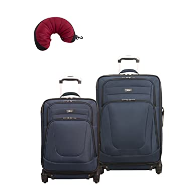 Skyway Epic | 3-Piece Set | 20  and 24  Expandable Spinners, Travel Pillow (Surf Blue)