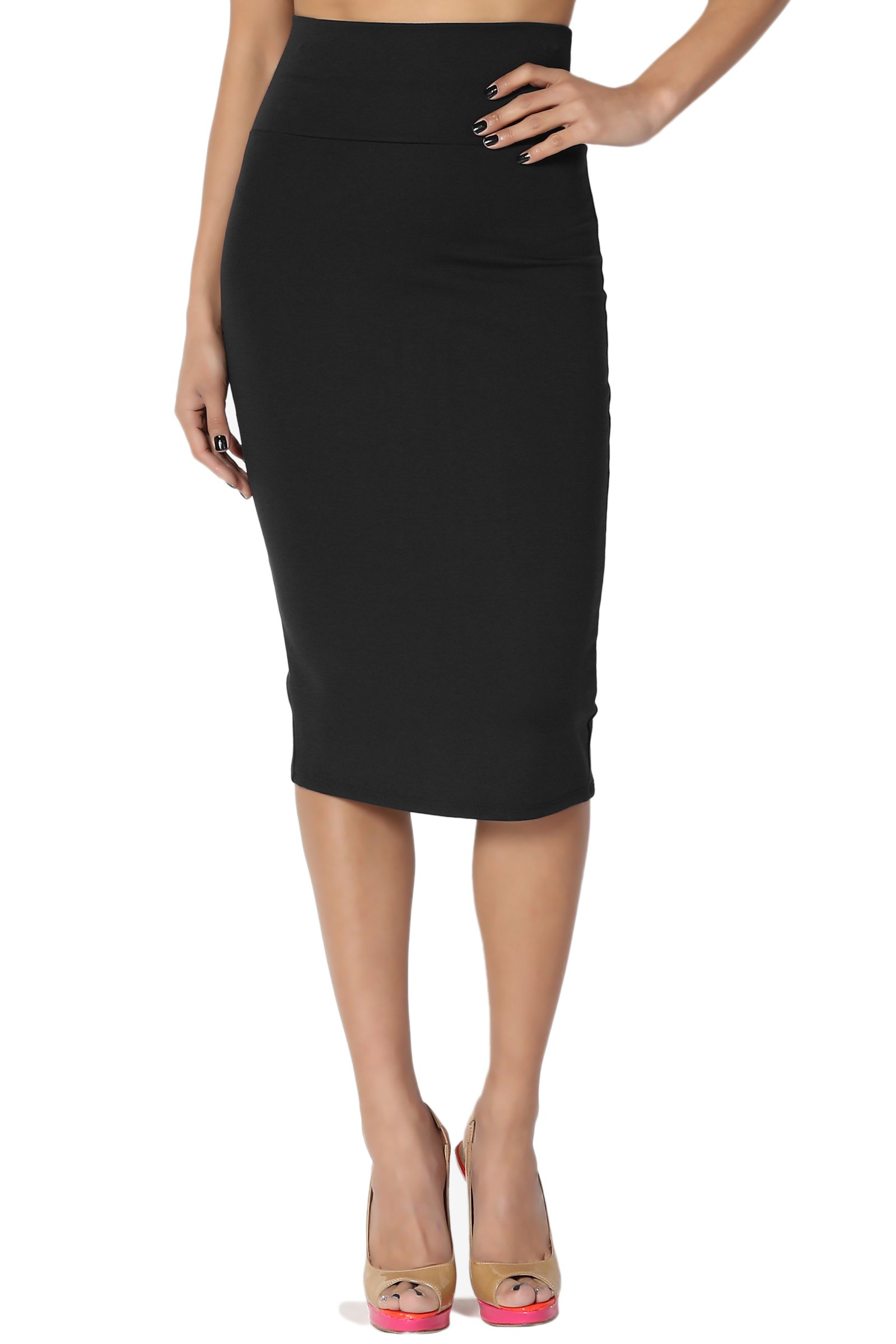 TheMogan Women's High Waisted Pull On Stretch Ponte Midi Pencil Skirt Black L