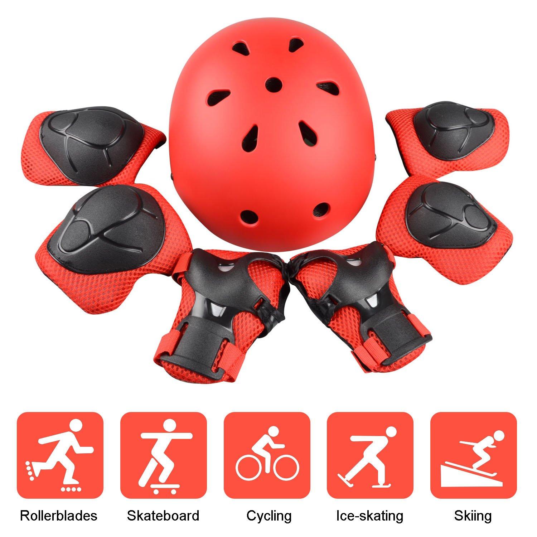 速くおよび自由な B073GS8FX5JIM'S STORE子供用保護具セット調整可能ヘルメット7個アドバンス膝パッド肘パッドスクーター用リストプロテクターサイクリングローラースケートスケートボード(レッド) B073GS8FX5, ブルームーン:0e25678f --- a0267596.xsph.ru