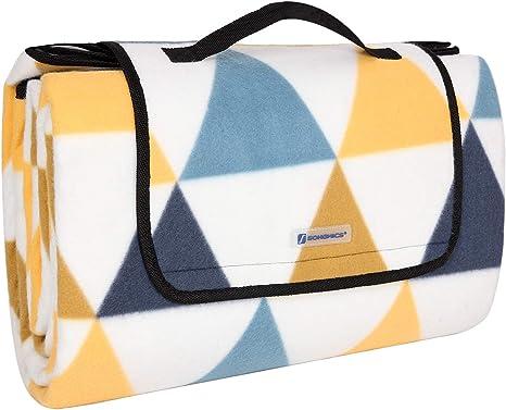 SONGMICS Manta de Picnic, 200 x 200 cm, Manta de Playa, para Camping, Parque, Patio, Impermeable, Plegable, Patrón de Triángulo Amarillo y Azul GCM76S