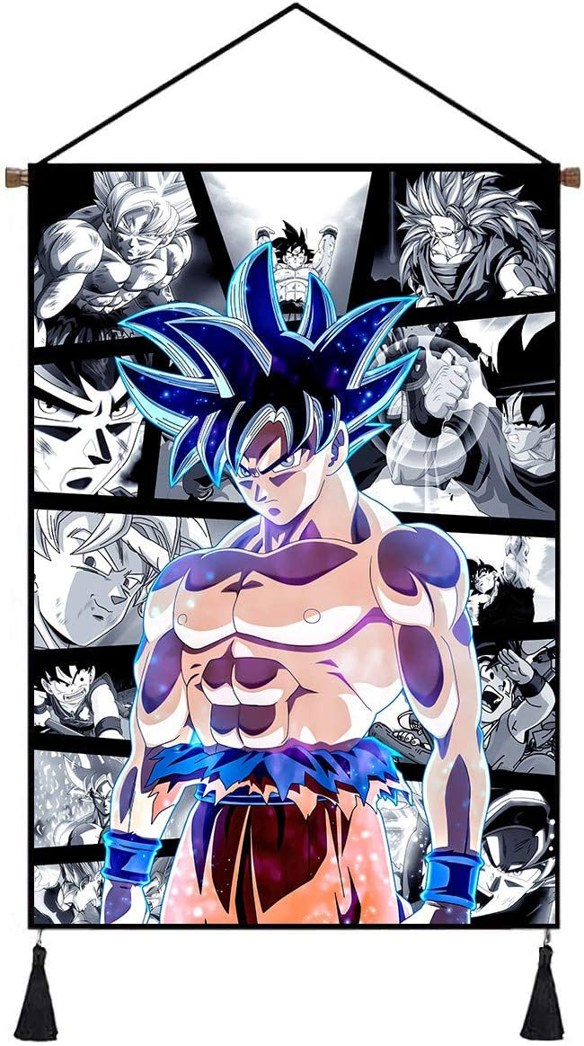 Premium Hanging Poster Canvas Wall Art, Son Goku Tapestry Plush Scroll with Tassels, Decoration for Home Dorm Office -18 X 26 in