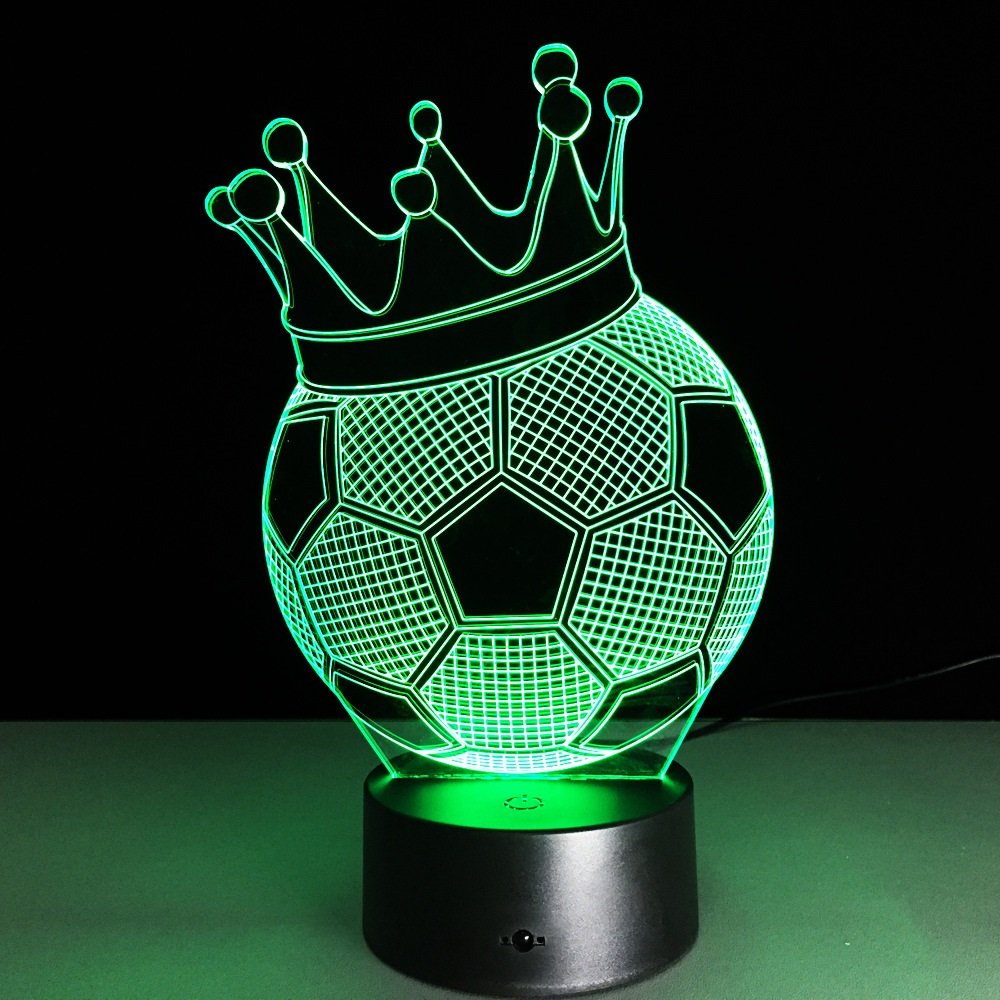 Wandun Lámpara De Luz Nocturna Nocturna Nocturna 3D Creative Football Corona Luces 3D Colorido Toque Remoto Luces LED Luz De La Noche Lámpara De Mesa LED Luces USB (Color : Remote Control) 93f3a5