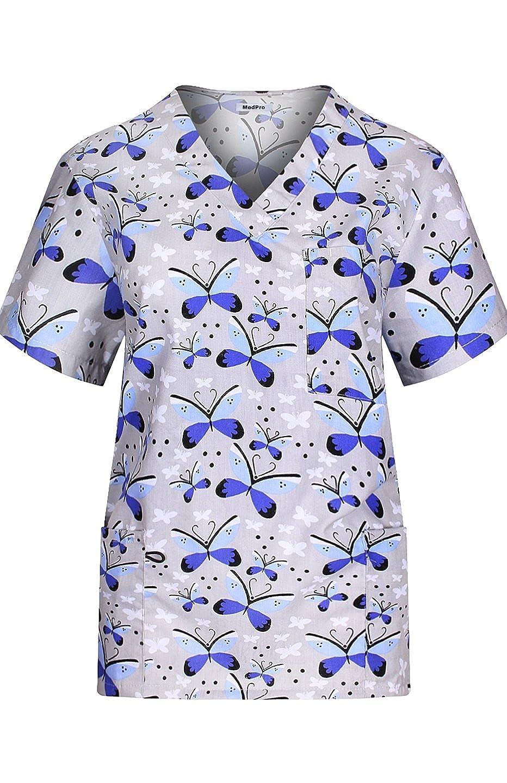 MedPro Scrub Médico de la Mujer Set con Impreso Wrap Top y Pantalones de Carga - Multicolor -: Amazon.es: Ropa y accesorios