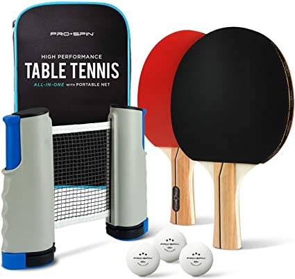 Portable Table Tennis Set 2 Paddle 4 Balls for Any Table Game Top Sports All in One Retractable Ping Pong Net and Paddles