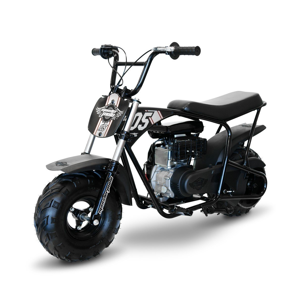 Monster Moto Limited Edition Black on Silver 105CC Mini Bike with Front Suspension-MM-B105-BBX