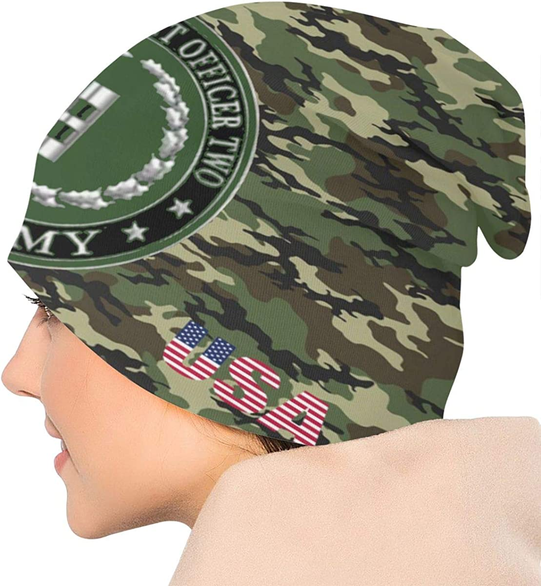 ZHONGHENJIUDIANC Unisex Beanie Caps Camouflage US Army US Army Chief Warrant Officer Two 3D Printing Skull Cap