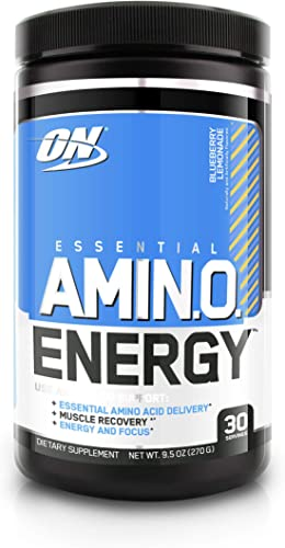 Optimum Nutrition Amino Energy – Pre Workout with Green Tea, BCAA, Amino Acids, Keto Friendly, Green Coffee Extract, Energy Powder – Blueberry Lemonade, 30 Servings