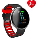 HOMESTEC Blood Pressure Bracelet Fitness Tracker I10X Colourful Screen Smart Watch with SPO2H Heart rate monitor Sleeping Management Pedometer with OLED Touch Screen for Android iOS