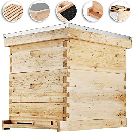 10 Deep Langstroth Hive Complete Beekeeping 20 Frame Beehive Box Kit 10 medium