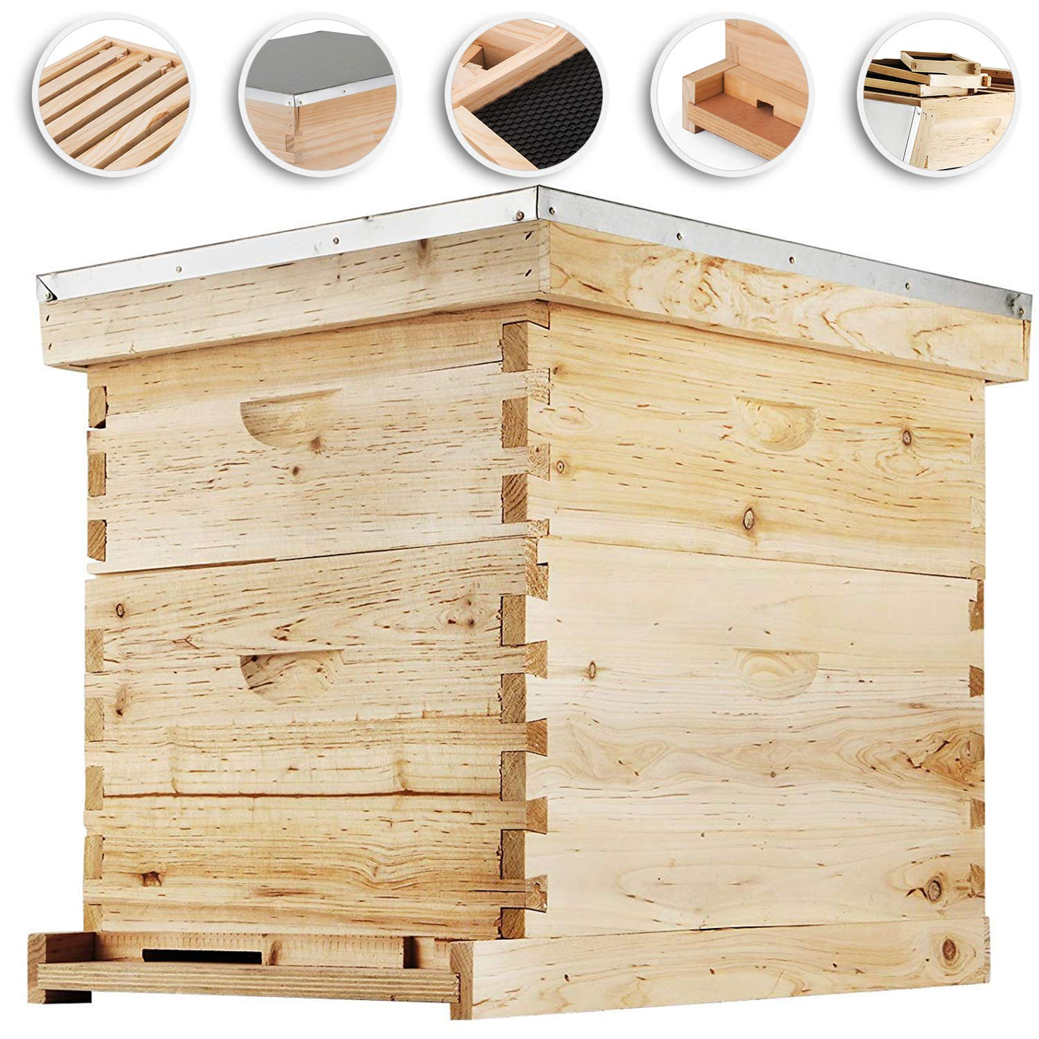 Happybuy Bee Hive 20 Frame Beehive Box 10 Deep and 10 Medium Frames Langstroth Wooden Beehive Kit for Beginners and Pro Beekeepers by Happybuy