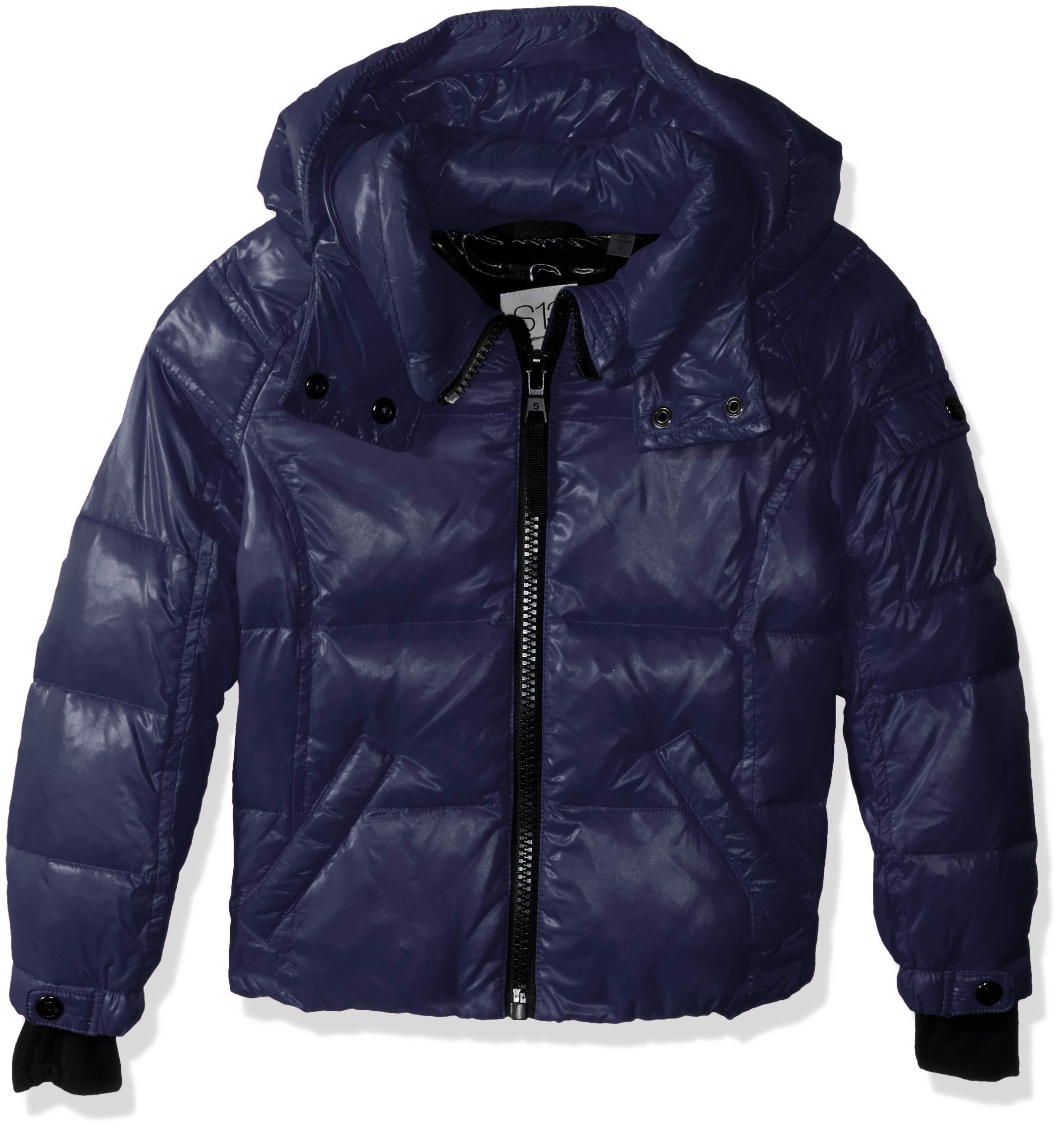 S13 Girls' Little Mogul Gloss Down Puffer with Detachable Hood, Navy 2