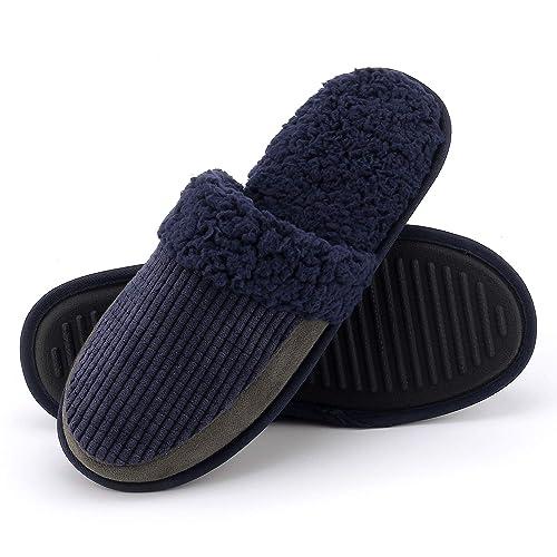 b8b8893a6e Men s Cozy Plush Fleece Slippers – Slip-on Slipper with Breathable Corduroy  Upper and Anti