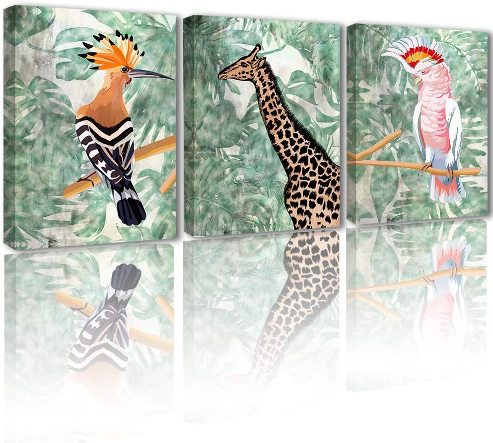 Animal Painting Decor Wall Art - Modern Home Canvas Artwork Decoration for Living Room Bedroom Lifelike Giraffe Parrot in Green Jungle Nature Theme Print Posters 3 Panel Set