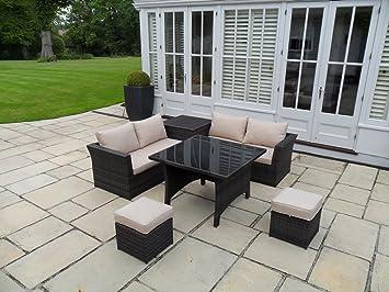 Amazonde Vienna Garten Rattan Möbel Outdoor Sofa Esszimmerstühle Set