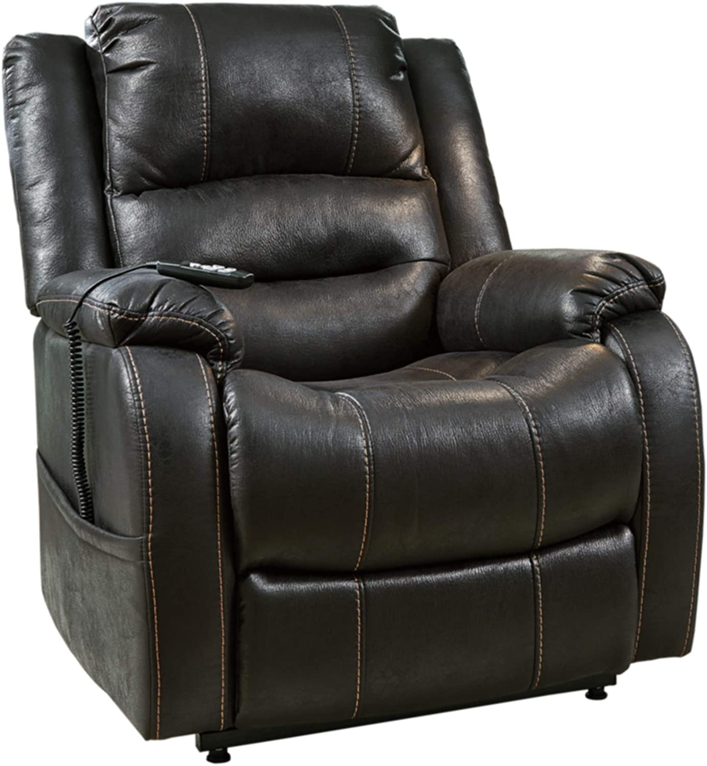 Amazon Com Signature Design By Ashley Yandel Upholstered Power Lift Recliner For Elderly Black Furniture Decor