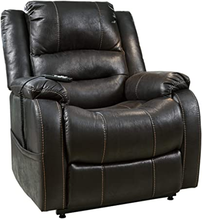 Signature Design by Ashley Furniture-Yandel Power Lift Recliner-Contemporary Reclining Sofa-Faux Leather Upholstery-Saddle