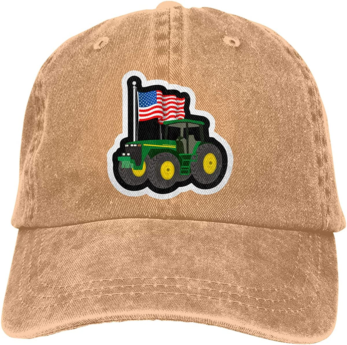 PMGM-C Tractor with American Flag Unisex Personalize Cowboy Hat Hip Hop Cap Adjustable Baseball Cap