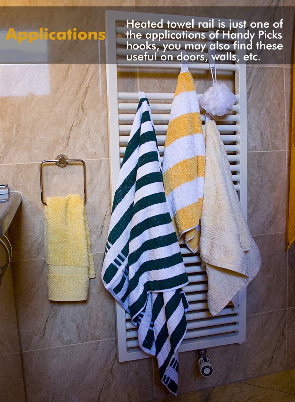 Ganchos para toallas adhesivos Ganchos para toallero Handy Picks Mant/én tu toallero en orden 12-PACK Ganchos de pl/ástico ABS para toalleros con radiador