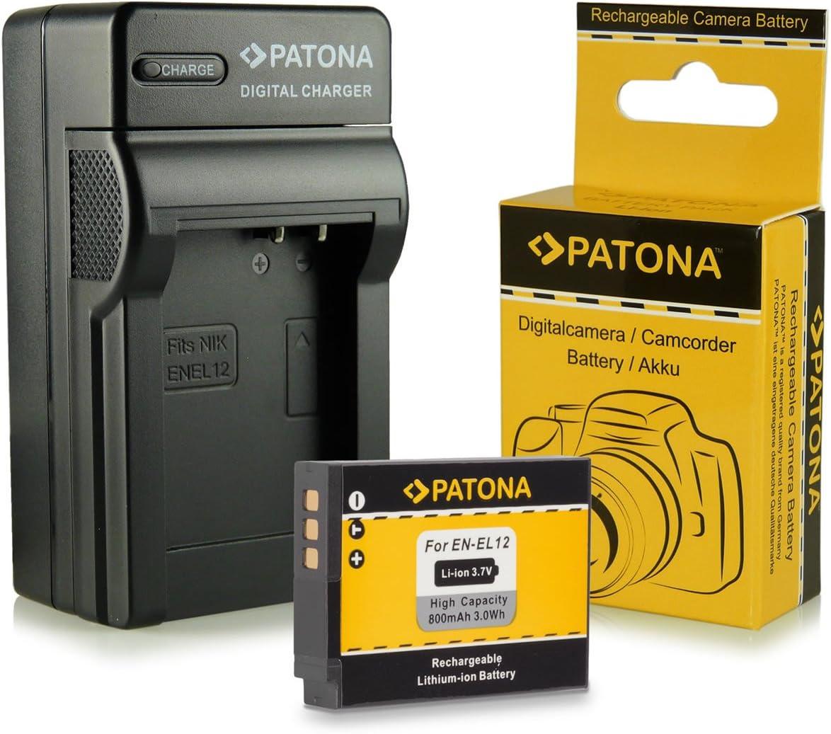 Cargador + Batería EN-EL12 para Nikon CoolPix AW100 | AW110 | P300 | P310 | P330 | S31 | S70 | S710 | S610 | S610c | S620 | S630 | S640 | S800c | S1000pj | S6100 | S6300 | S6400 | S8000 | S8100 | S910