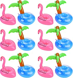 Outgeek Floating Drink Holders, 12 Pcs Inflatable Palm Tree Drink Holders Flamingos Flamingo Drink Holder Cup Holder for Pool Party Water Fun