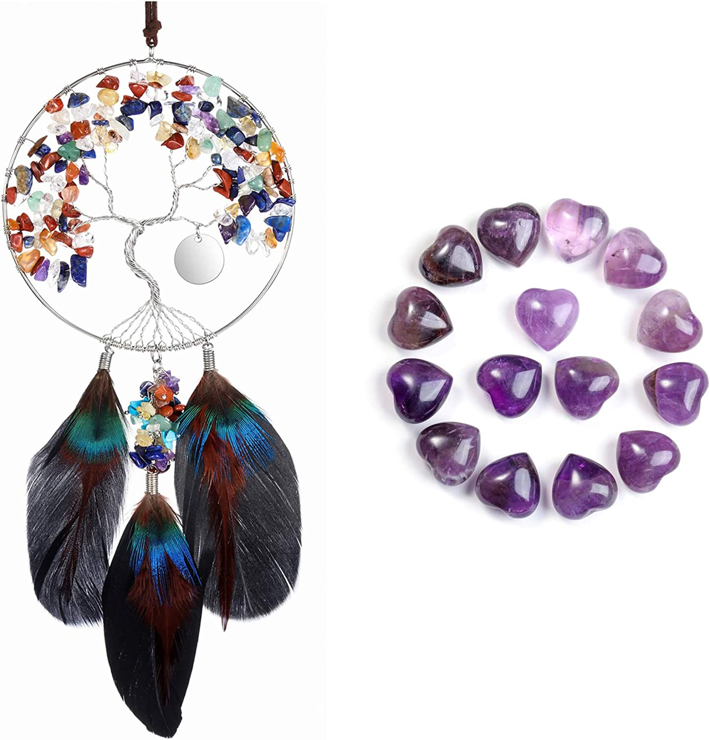 CrystalTears 7 Chakra Crystal Dream Catcher Hanging Ornament Bundle with 15pcs Amethyst Crystal Heart Stones(2 Items)