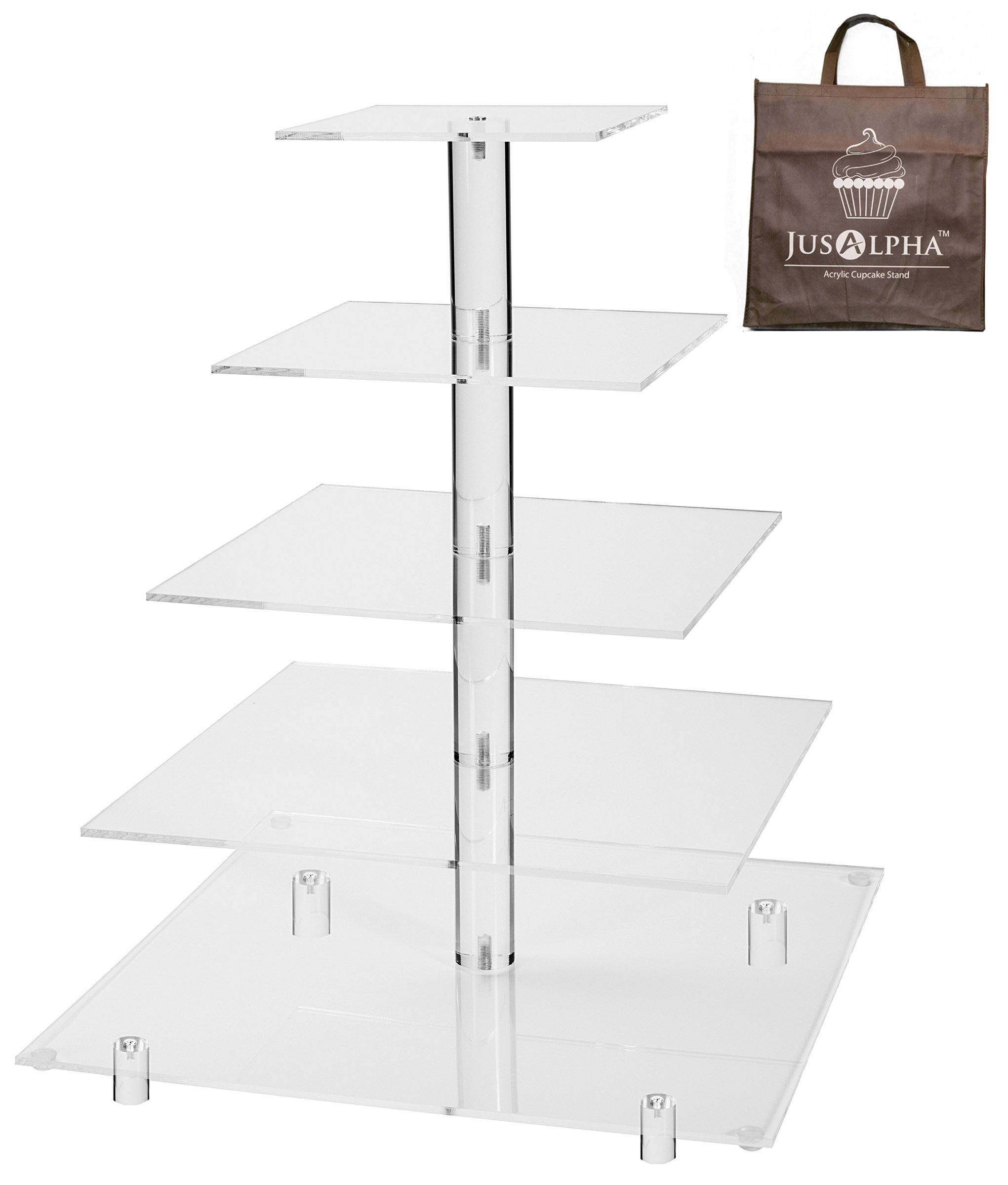 Jusalpha 5 Tier Acrylic Square Wedding Cake Stand/Cupcake Stand Tower/Dessert Stand/Pastry Serving Platter/Food Display Stand (5SF)