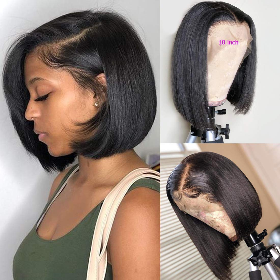 BLY Short Straight Bob Wigs Brazilian Virgin Human Hair Lace Front Wigs Human Hair (10inch) 13x4 Lace Part 150% Density Pre Plucked with Baby Hair by BLY