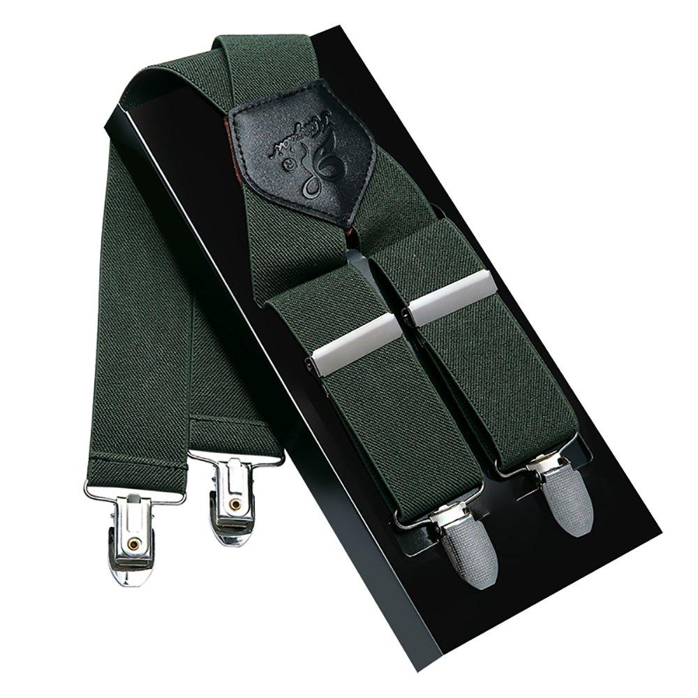 Men Suspenders KANGDAI Suspenders For Men Green 4 Clips Wide 1.4'' X Back Heavy Duty Men Braces Elastic Durable Suspenders Strong Metal Clips (Green)