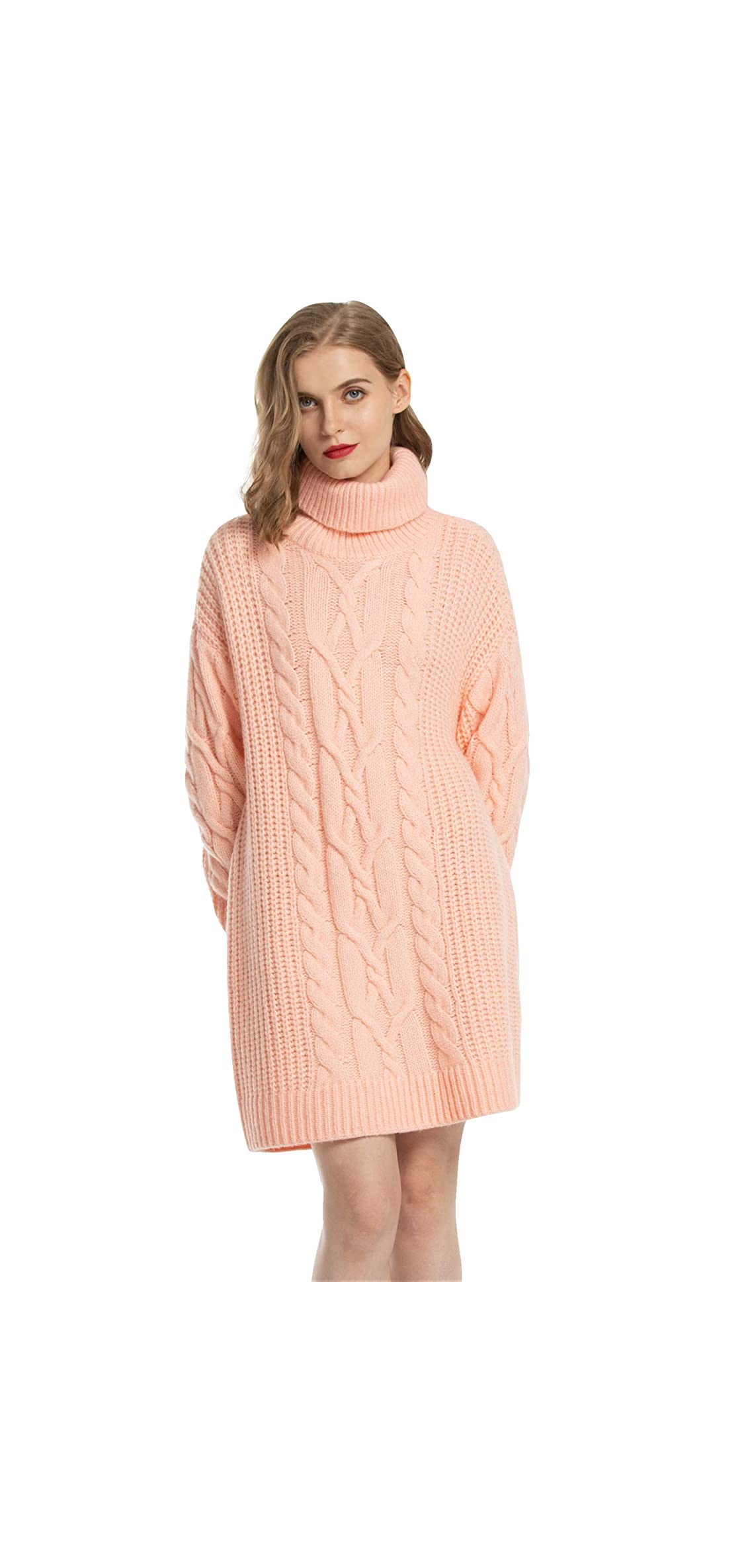 Women's Cable Knit Turtleneck Sweater Dresses Long For