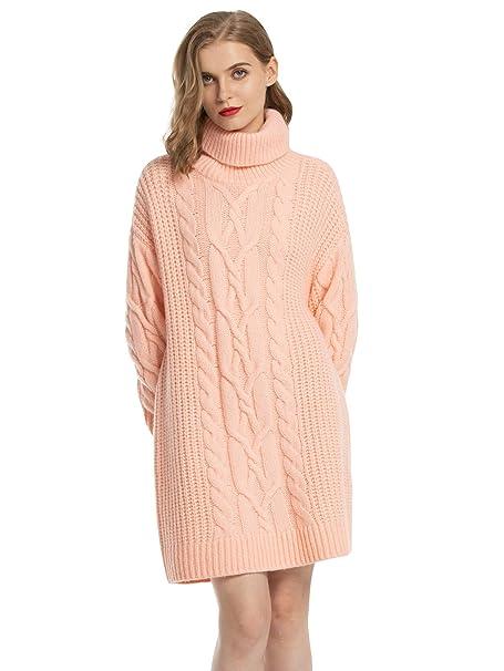 MessBebe Women\u0027s Cable Knit Turtleneck Sweater Dresses Long Sleeve  Oversized Pullover Sweaters for Women Wool Winter Dress