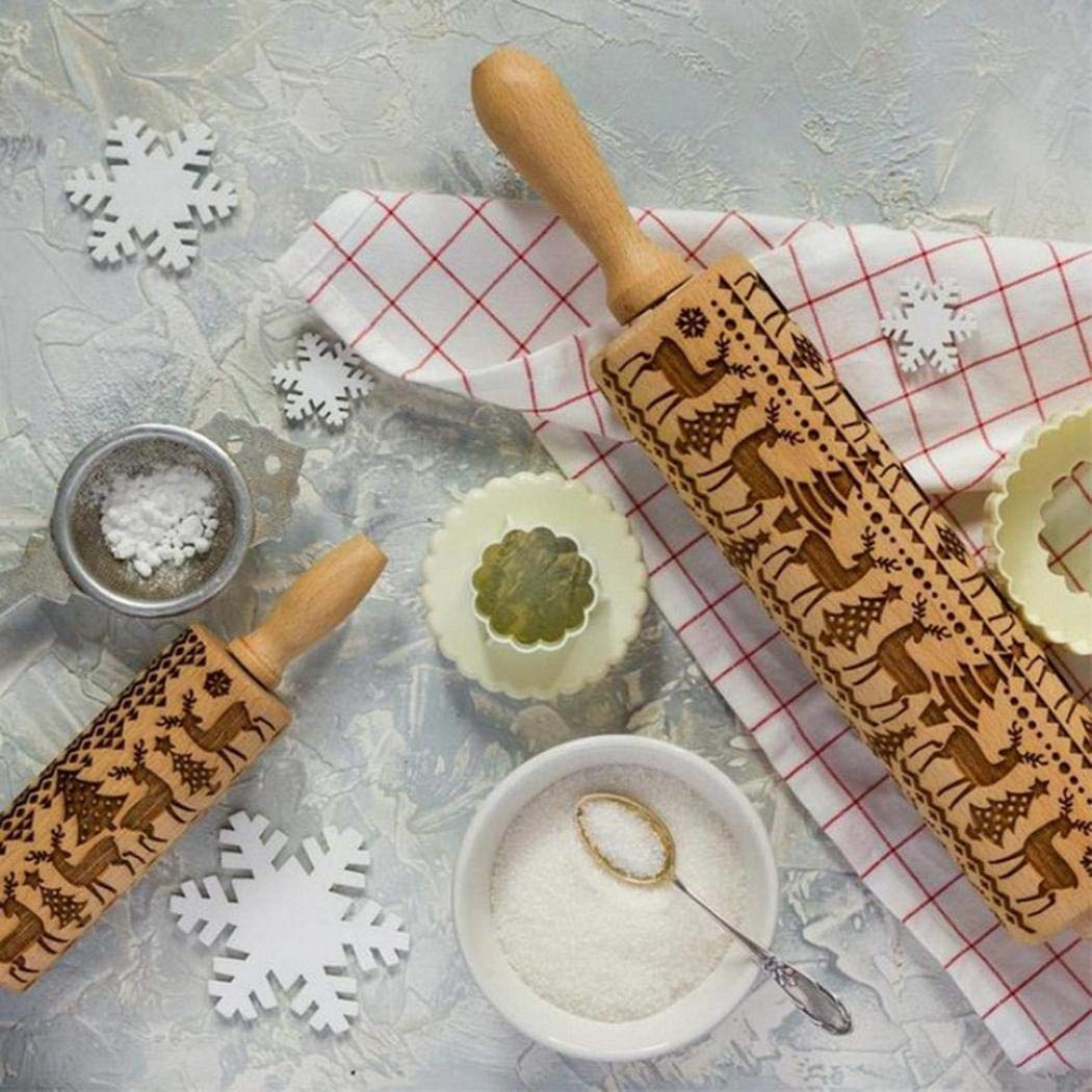 GuGio Christmas Wooden Rolling Pins, Wooden Engraved Embossing Rolling Pin with Christmas Deer Pattern for Baking Embossed Cookies,Rolling Pin Kitchen Tool for Kids and Adults to Make Cookie Dough by GuGio (Image #5)