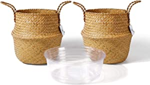 POTEY 720301 Seagrass Plant Basket - Hand Woven Belly Basket with Handles, Middle Storage Laundry, Picnic, Plant Pot Cover, Home Decor and Woven Straw Beach Bag (Set of 2 Middle, Original)