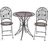 Gartentisch + 2x Stuhl Eisen antique style Gartenmöbel garden furniture braun