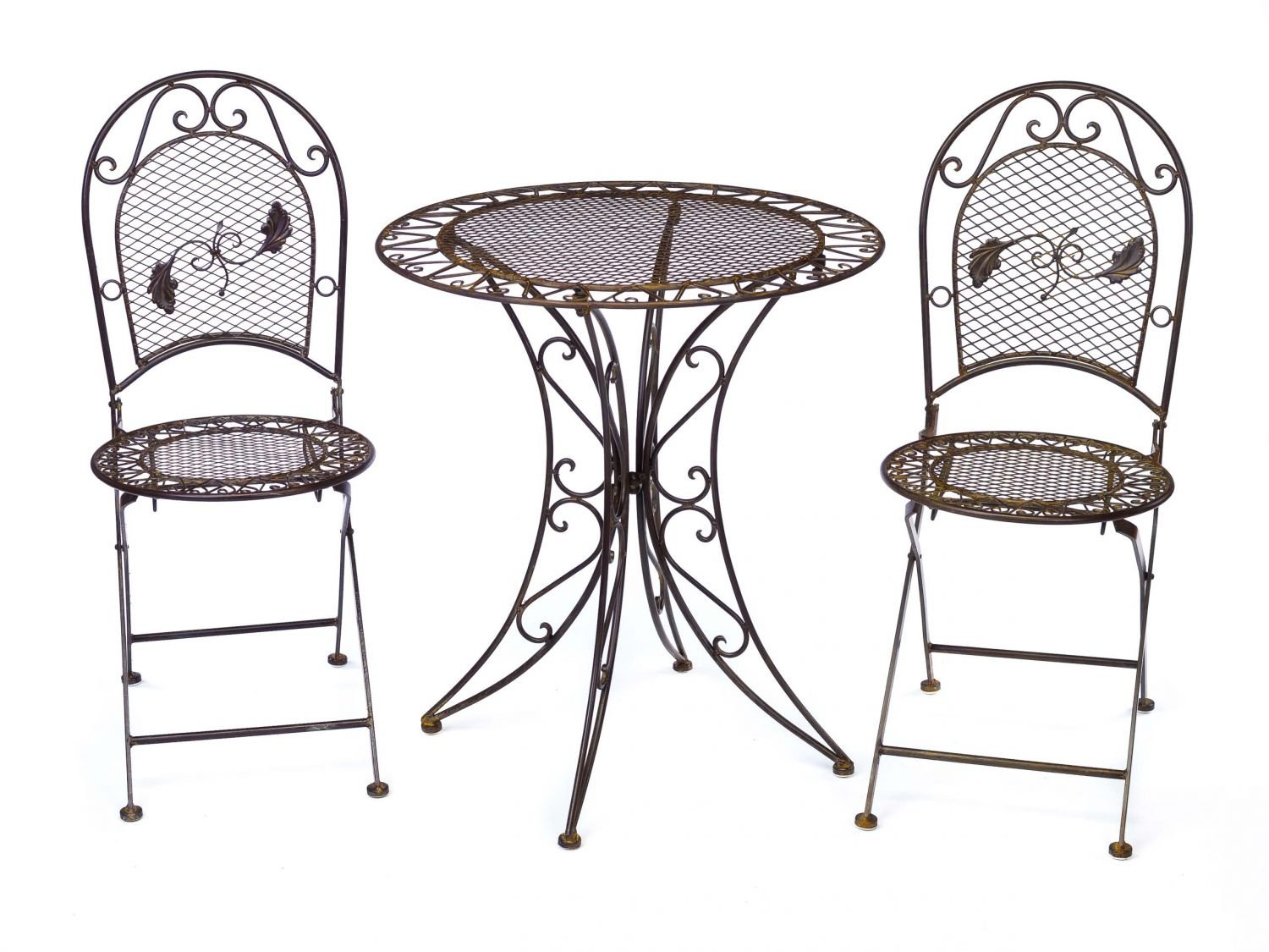 Vintage garden furniture set - table & 2 chairs - wrought iron ...