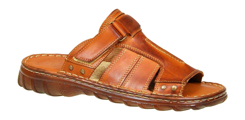 Herren Bequeme Sandalen Schuhe Mit Der Orthopadischen Einlage Aus Echtem Buffelleder Hausschuhe Modell 875  41 EU|Braun