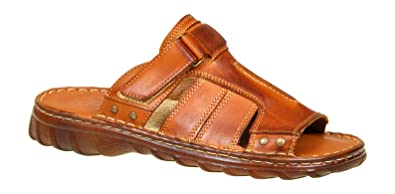 b69b0636a Lukpol Mens Natural Buffalo Leather Comfortable Orthopedic Sandals Model-875