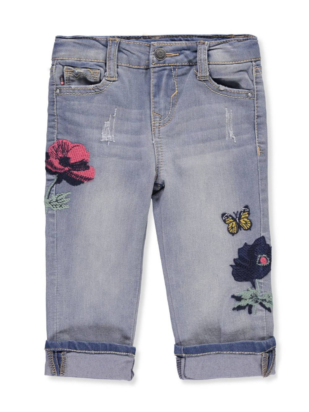 VIGOSS Toddler Girls' Fashion Crop Skinny Jean, Carib Blue, 3T