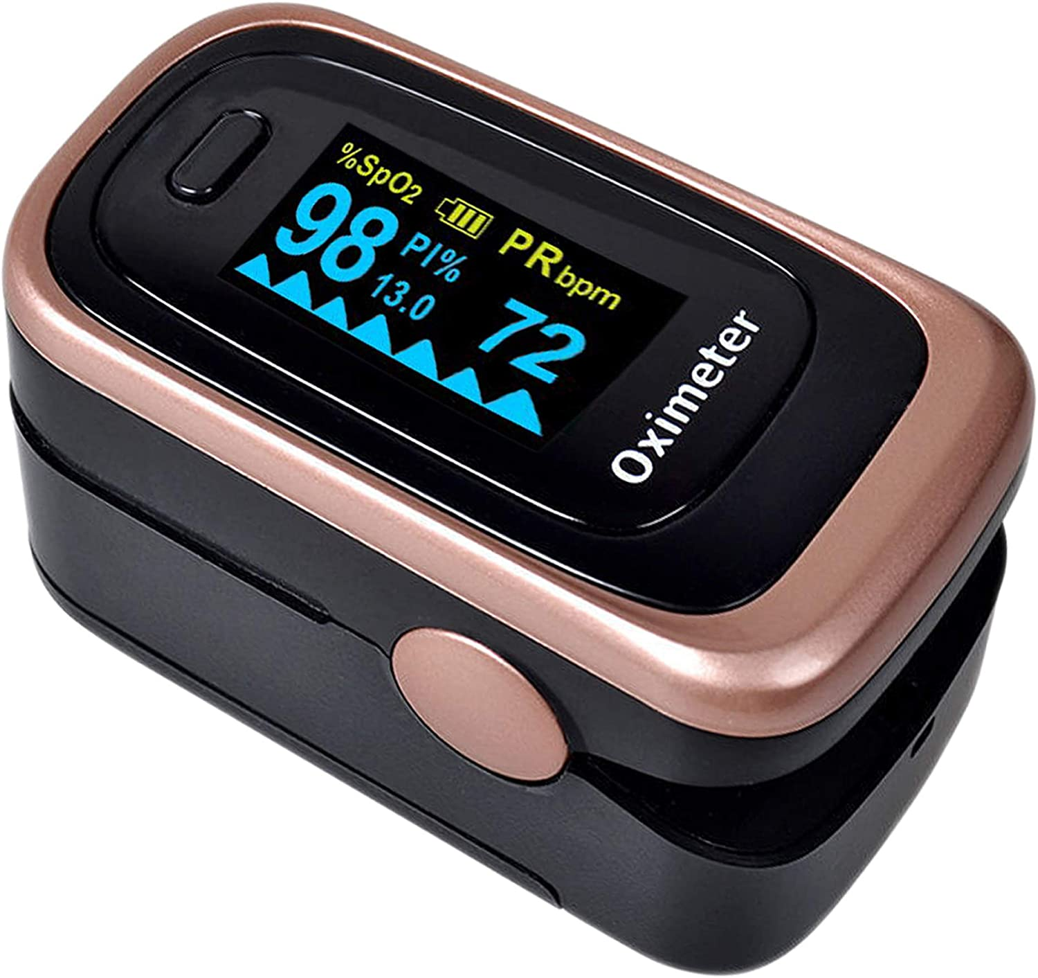 Oxygen Saturation Monitor, Wrinery Premium Pulse Oximeter Fingertip, Oxygen Monitor, O2 Saturation Monitor, OLED Portable Oximetry with Batteries, Lanyard Rose gold-Royal black
