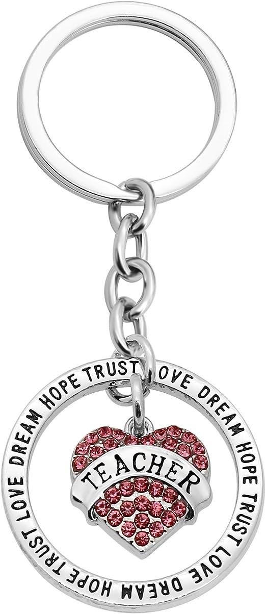 Key Ring Teacher Love Heart Pink Teacher Gifts Portachiavi Donna Gioielli per la giornata degli insegnanti