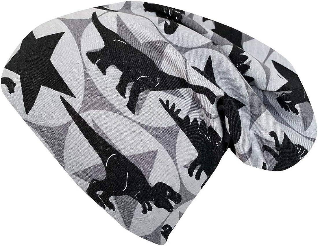 Reversible Hat All Year Round Dinos//Stars Inside Plain Grey Made from Organic Fabrics Wollhuhn /ÖKO 20160315 Boys Long Beanie