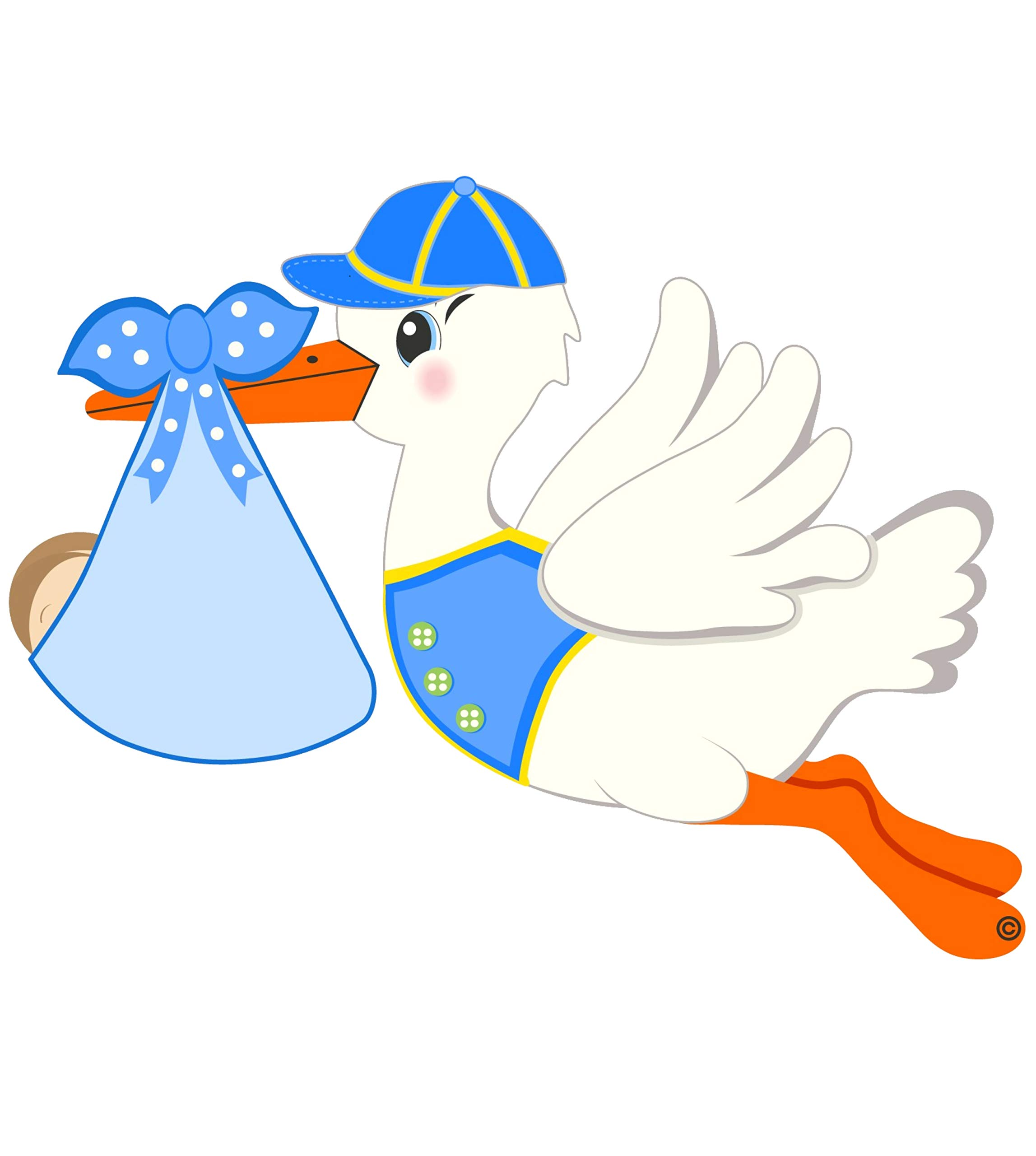 Cute News It's a Boy Stork Announcement Door Hanger - Nursery Wall Decoration - Blue - Indoor or Outdoor Baby Decoration