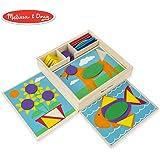 Melissa & Doug 初学者木制形状模块教育玩具,含5个双面场景板和30块形状模块