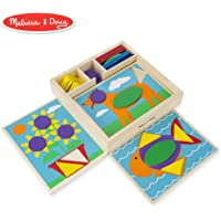 Melissa & Doug Beginner Wooden Pattern Blocks Educational Toy, 5 Double-Sided Scenes and 30 Shapes, 27.051 cm H x 27.051 cm W x 5.842 cm L