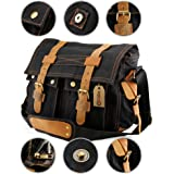 GEARONIC TM Men's Vintage Canvas and Leather Satchel School Military Shoulder Bag Messenger for Notebook Laptop Macbook 11 and 13 inch Air