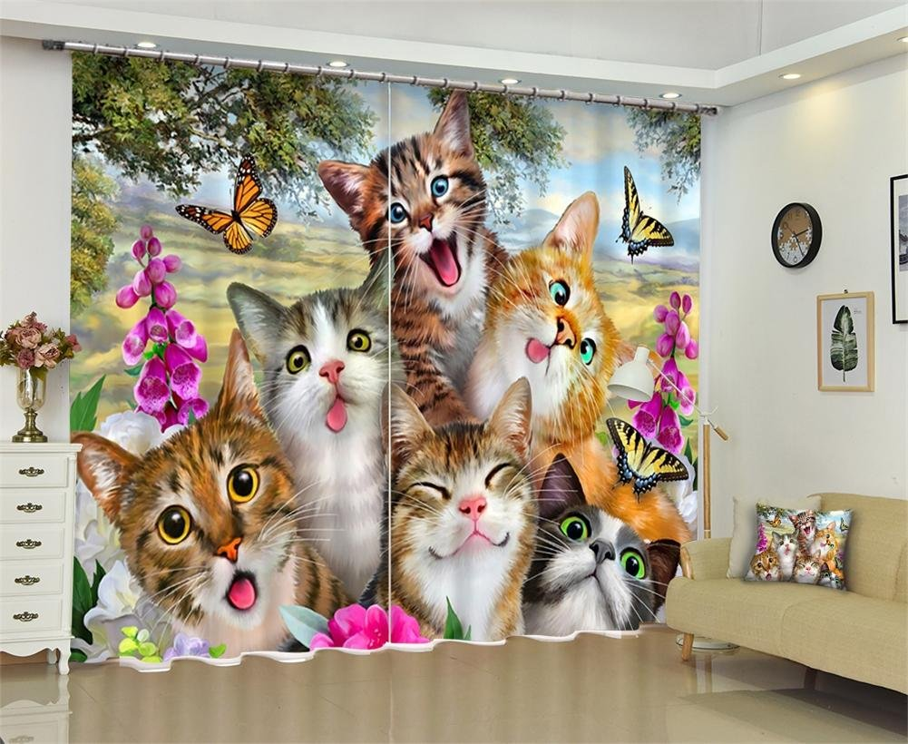 Dbtxwd Curtains 3D Cats drape Blackout Solid Thermal Window Drapes For Bedroom living room Panel Curtain , wide 2.03x high 2.13
