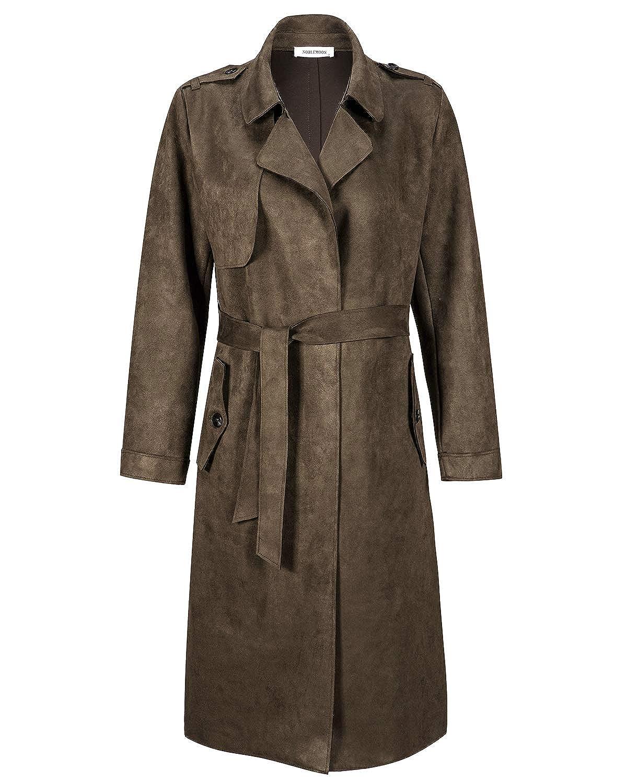 Longline Raincoat Pea Coat with Belt NOBLEMOON Womens Lapel Trench Coat